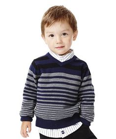 Look at this RUUM Navy Variegated Stripe Sweater - Infant, Toddler & Boys on today!Children and Young Baby Knitting Patterns, Baby Cardigan Knitting Pattern Free, Knit Baby Sweaters, Boys Sweaters, Crochet For Boys, Knitting For Kids, Toddler Boys, Infant Toddler, Toddler Cardigan