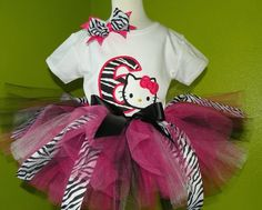 #MC Hot Pink n Black Zebra Hello Kitty Girls Birthday Tutu Outfit by PoshBabyStore.com