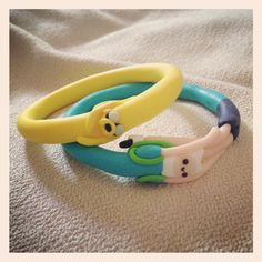 Adventure Time #Finn and #Jake #Handmade clay bracelets :) <3