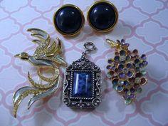 Nashville Jewelry Lot Coventry Lapis Napier Bird Brooch & Enamel Rhinestone Pin #NapierCoventryunsigned