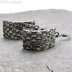 Snakeskin Earrings Crescent Shaped Curved by KathartesJewelry, $55.00