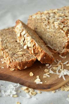 Vegan Coconut Quinoa Banana Bread from Coffee & Quinoa. Full of delicious flavor, texture and wholegrain goodness. Perfect for breakfast warmed up and topped with coconut butter or your favorite spread.
