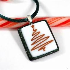 Fused Glass Christmas Tree Pendant, Holiday Jewelry in Red ...