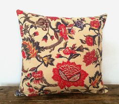 The East Indies Cotton/ Linen Thailand Tan & Malaysian Red Floral Decorative Throw Pillow