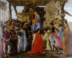"""Adoration of the Magi"".   (1475). (by Sandro Bottcelli)."
