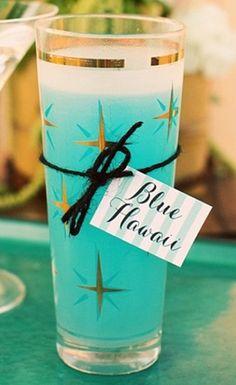 pretty blue drink in pretty vintage glass
