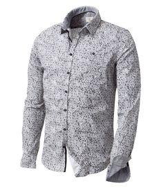 Herrenmode Klassische Hemden Lange Ärmel Revers Formal  Drucken T-Shirt Fashion