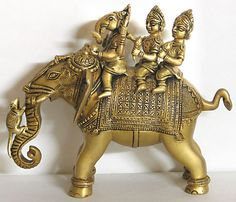 Lord Ganesha with his wives Riddhi and Siddhi - Brass Statue