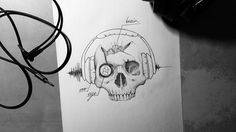 Skull with headphone by SteveToth89