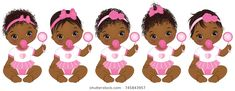 Vector cute African American baby girls with rattles sitting. Baby girls with various hairstyles. Find Vector cute African American baby girls with rattles Cool Hairstyles For Girls, Baby Girl Hairstyles, African Hairstyles, Little Baby Girl, Little Babies, Cute Babies, Baby Girls, Baby Baby, African American Babies