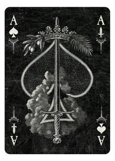 Arcana Playing Cards Ace of Spades/Swords dark