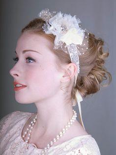 Silk Flower Bridal Headband With Rhinestones and Velvet Ribbon : Bridal : Deanna DiBene Millinery