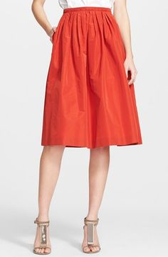 """Burberry+London+Full+Pleated+Skirt+available+at+#NordstromA deftly pleated waist releases the voluminous silhouette of a brightly hued skirt that falls just below the knee for a ladylike look.  28"""" length (size 8). Back zip closure. Unlined. 57% polyester, 43% cotton. Dry clean. By Burberry London"""