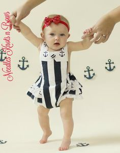 b2aa35eb8 Girls Nautical Romper, Baby Girls Nautical 1st Birthday Outfit, Nautical Cake  Smash, Nautical Outfit