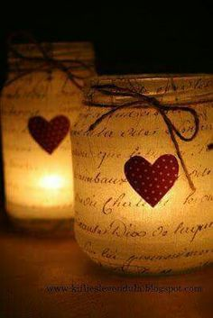 Cute idea for the next upcoming holiday - Valentines day. Change the heart to a star for a cute Christmas candle idea! <3