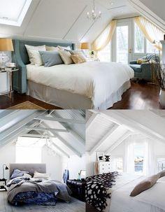 Slanted roof bedroom ideas! I hope I have one someday!