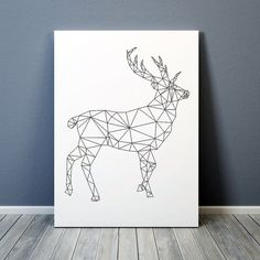 Geometric deer print. Animal poster. Triangle decor for home and office. Lovely line art. Available in two sizes: A4 (8.2x11) and A3 (11.6x16.5).