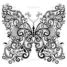 тату ажурная бабочка