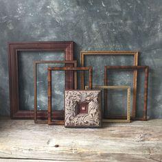 Vintage Wood Picture Frames  Set Of Seven Open Frames  by Untried