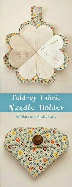 Fold up fabric needle heart