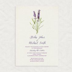 lavender wedding invitation - floral and linen printable invite - vintage botanical illustration country rustic purple flowers bridal shower by idoityourself on Etsy https://www.etsy.com/listing/400150869/lavender-wedding-invitation-floral-and