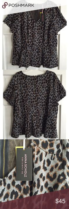Animal Print Peplum Top ANNA SCHOLZ for SIMPLY BE / Leopard Print Peplum Top - PLUS SIZE, US Size 26 - Grey Leopard print  - Short sleeve peplum style silhouette - V-neckline & Back gold zipper - Princess & bust seams for perfect fit  - Lots of stretch (57% poly, 30% viscose, 13% elastane) ✅ Brand new with tags ✅ NO trades / NO low-balling ✅ List price is fair and highly discounted✌️ Anna Scholz Tops Blouses