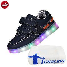 [Present:kleines Handtuch]Schwarz EU 25, leuchten LED JUNGLEST® Klettverschluss Schuhe Unisex Kinder