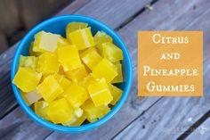 Superfood Citrus and Pineapple Gummies   Rubies & Radishes #paleo #citrus #pineapple #gelatin #gummies #kidfriendlypaleo