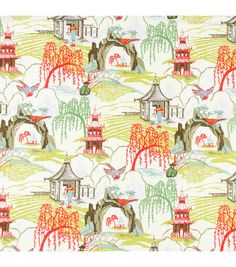 Robert Allen Neo Toile Coral will make you feel like you're in a faraway luxurious dream space every time you see this designer fabric in your home. Neo Toile Coral Oriental design print fabric from Robert Allen design. Chinoiserie Fabric, Chinoiserie Chic, Toile Curtains, Drapery Fabric, Bathroom Curtains, Kitchen Curtains, Window Curtains, Coral Home Decor, Home Decor Fabric
