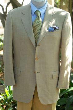 Battistoni $1895 Beige & Brown Check Super 110 Wool Sport Coat Blazer 42R 42 R #Battistoni #ThreeButton