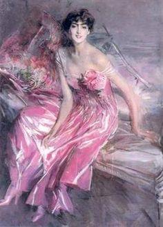 Giovanni Boldini - Signora in Rosa. Giovanni Boldini Signora in Rosa (Woman in Pink) Painted in 1916. Galleria d'Arte Moderna e Contemporanea, Ferrara