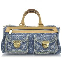 This is an authentic LOUIS VUITTON Denim Monogram Neo Speedy in Blue.   This stylish tote is crafted of Louis Vuitton mini monogram fine denim.