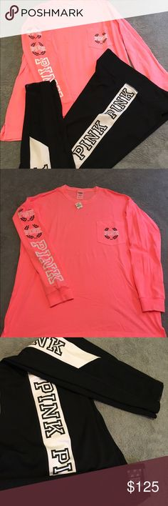 VS PINK SET (M/L) Pink ultimates like New and Crew is NWT , can purchase togehter or separte theys both listed separate in my closet !! PINK Victoria's Secret Tops Tees - Long Sleeve