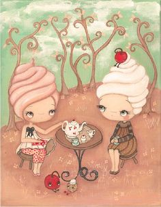 Cupcake Painting  Girl Friends Frosting Tea And Cupcakes Original Kitchen Decor Wall Art---Original Painting 11 x 14