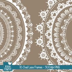 Lace Oval Frames Clipart - beautiful for scrapbooking and creative projects.