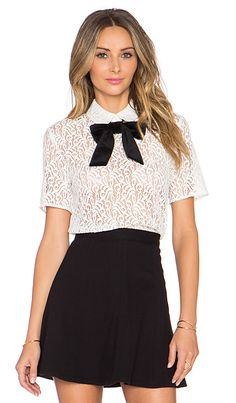 The Kooples Lace Top With Velvet Bow in Ecru   REVOLVE