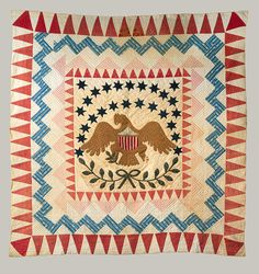 "Quilt with eagle pattern [American, New England] , cotton, 1837-50; 103"" x 97"""