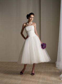 Attractive A-line Tea Length Organza Cost-efficient Summer Bridal Dress (TLWD-028) [TLWD-028] - $94.99 :