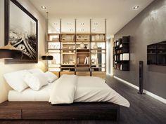Kleines Schlafzimmer Brauntöne Holzwand Fernseher Montiert | Betten |  Pinterest