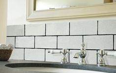 Rectangle - Aged Crackle - Hand Made Wall Tiles - Marlborough Tiles Coloured Grout, Glazed Tiles, Wall Tiles, Double Vanity, Tile Floor, Shabby Chic, Sink, Tiling