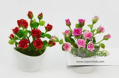 Handcrafted Pink and Red Roses from Thai dry air by ClayOrchids, $27.00