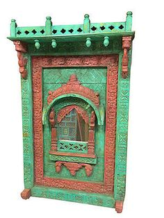 Antique-Arched-Mirror-Frame-Jharokha-Wall-Decor-Red-Green-Patina-Home-Decor http://stores.ebay.com/mogulgallery/Wall-Sculpture-/_i.html?_fsub=1620776319&_sid=3781319&_trksid=p4634.c0.m322