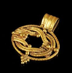 Golden pendant in shape of a Heracles knot made of wire decorated with golden beads. Roman, 2nd century A.D.