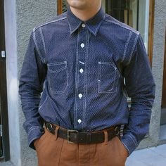Lofgren - Wabash Dot Shirt: A workshirt in a true 1920s style. With details such as chinstrap closure at neck, double back yoke and underarms with indigo thread ventilation holes, the classic hexagon embossed buttons similar to those common on old workwear shirts. A railroad style watch pocket with additional angled button hole for watch chain, for a safe place to store your watch. Lower hem rip-stop shirt tail gussets.