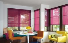 Dress a kitchen corner with color, style and chic Designer Roller Shades. ♦ Hunter Douglas window treatments