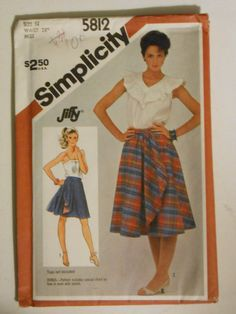 Vintage 80s Reversible Front Wrap Around Skirt Pattern Simplicity 5812 Size 14 Waist 28 UNCUT by lisaanne1960 on Etsy