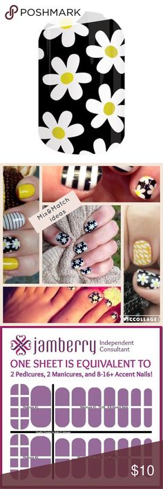 JAMBERRY: SIMPLY DAISY SIMPLY DAISY  4 sale in full sheet Full sheet provides 2 pedicures 2 Manicures & 8-16 accents WANT only half sheet comment below every Jamberry Bundle purchased u will receive a free Jamberry gift. wraps r made w/durable materials no smudges & streaks are can last for up to 2 week on fingernails & 4 weeks on toes customize, pair, & layer nail wraps 2 create a look that's U from the comfort of your home Non-toxic 5-Free (Dibutyl Phthalate, Toluene, Formaldehyde…