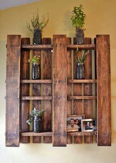 Rustic pallet shelf.
