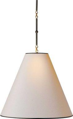 GOODMAN HANGING LAMP:  white metal shade with antique brass finish inside #circalighting