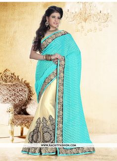 Shop Exceptional Brasso Trendy Saree In Sky Blue Colour at #rachitfashion  #brasso #trendy #skyblue
